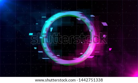 Synthwave/ Vaporwave/ Retrowave Glitch Circle with blue and pink glows with smoke and particles on laser grid space background. Design for poster, cover, wallpaper, web, banner.