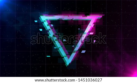 Synthwave/ Vaporwave/ Retrowave Glitch inverted Triangle with blue and pink glows with smoke and particles on laser grid space background. Design for poster, cover, wallpaper, web, banner.