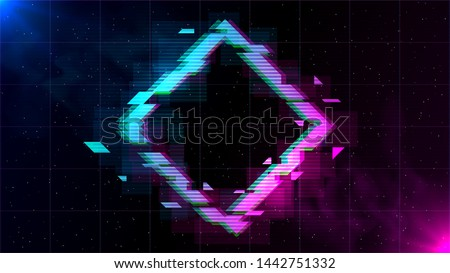 Synthwave/ Vaporwave/ Retrowave Glitch Rhombus with blue and pink glows with smoke and particles on laser grid space background. Design for poster, cover, wallpaper, web, banner.
