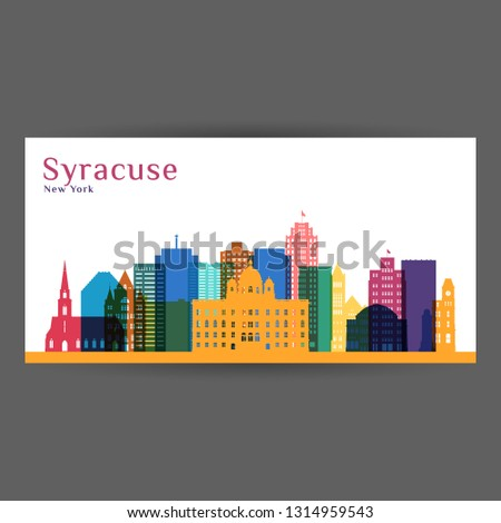 Syracuse city architecture silhouette. Colorful skyline. City flat design. Vector business card.