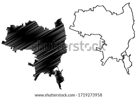 Syracuse City (Italian Republic, Italy, Sicily) map vector illustration, scribble sketch City of Syracuse map