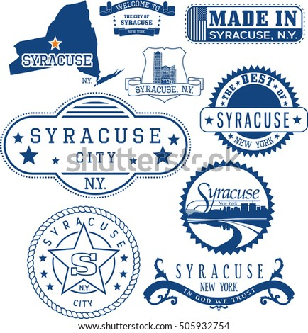 Syracuse city, New York. Set of generic stamps and signs including Syracuse city seal elements and location of the city on New York state map.
