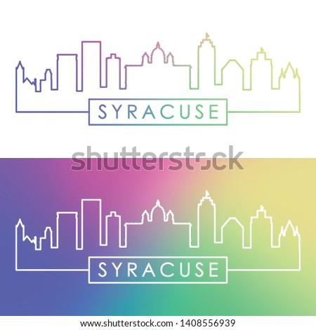 Syracuse city skyline. Colorful linear style. Editable vector file.