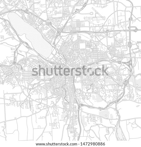 Syracuse, New York, USA, bright outlined vector map with bigger and minor roads and steets created for infographic backgrounds.