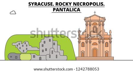 Syracuse. Rocky Necropolis - Pantalica  line travel landmark, skyline, vector design. Syracuse. Rocky Necropolis - Pantalica  linear illustration.