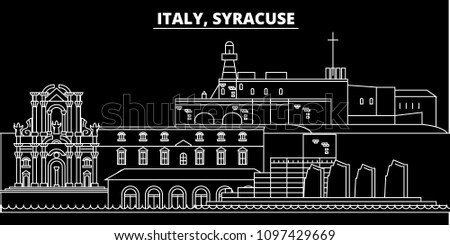 Syracuse silhouette skyline. Italy - Syracuse vector city, italian linear architecture, buildings. Syracuse travel illustration, outline landmarks. Italy flat icon, italian line banner