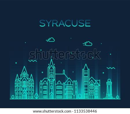 Syracuse skyline, New York, USA. Trendy vector illustration, linear style