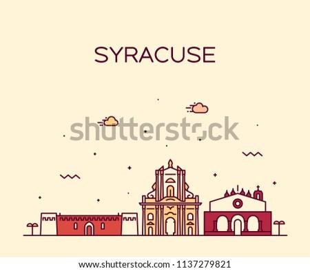 Syracuse skyline, Sicily, Italy. Trendy vector illustration, linear style