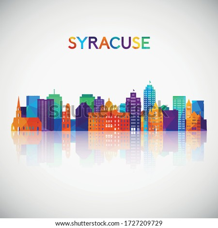 Syracuse skyline silhouette in colorful geometric style. Symbol for your design. Vector illustration.