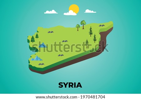 Syria 3d isometric map with topographic details mountains, trees and soil vector illustration design Stockfoto ©