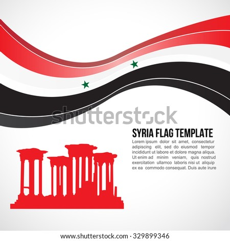 syria flag wave and palmyra's