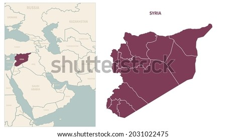 Syria map. map of Syria and neighboring countries. Stockfoto ©
