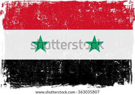 syria vector grunge flag
