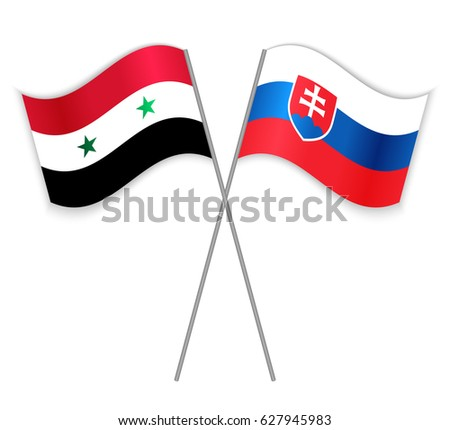 syrian and slovak crossed flags