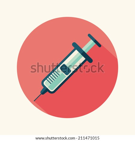 syringe flat icon with long