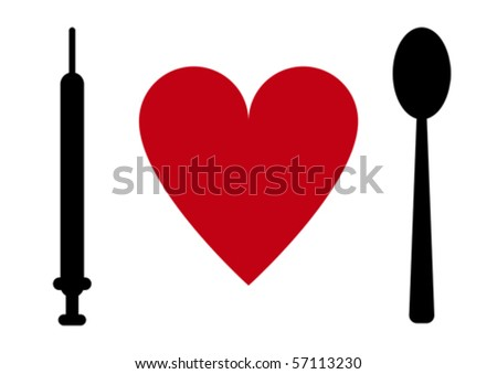 Syringe, heart, spoon.