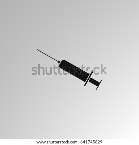 Syringe icon for vaccine, injection, flu shot. Disposable syringe isolated on white background. Medical equipment. Vector