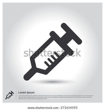 syringe icon, pictogram icon on gray background. Vector illustration for web site, mobile application. Simple flat metro design style. Outline Icon. Flat design style