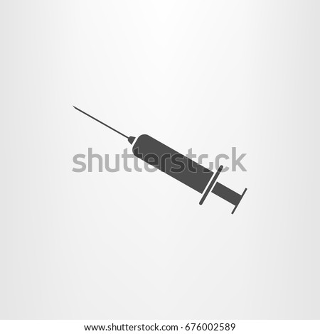Syringe icon. Vaccine, vaccination, injection, shot, flu. Disposable syringe isolated on white background. Medical equipment. Vector