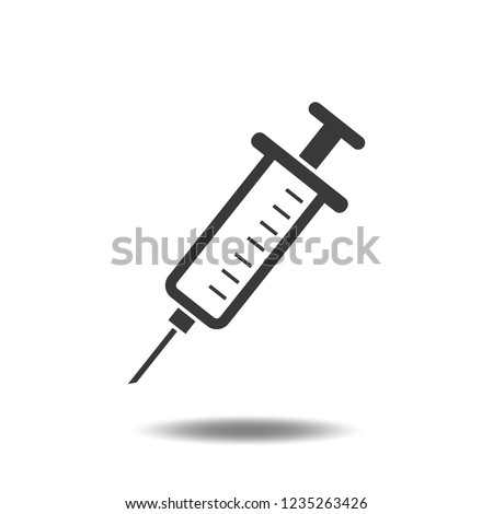 Syringe icon vector or injection needle flat sign symbols logo illustration isolated on white background black color.Concepts objects for healthcare.