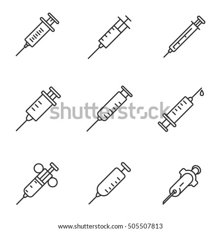 syringe icons set, thin line design. Medical syringes of different forms, linear symbols collection. isolated vector illustration.