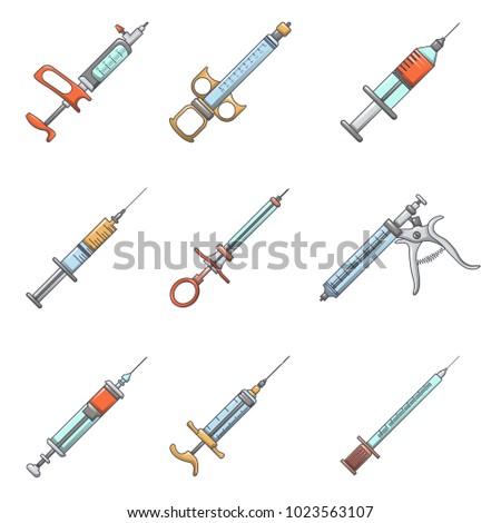 Syringe needle injection icons set. Cartoon illustration of 9 syringe needle injection vector icons for web