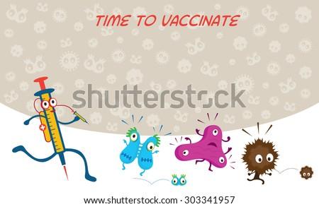 Syringe Run to Vaccinate Germ Characters, Bacteria, Virus, Microbe, Pathogen