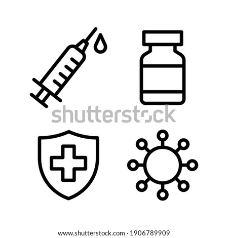 Syringe, Vaccine vial, Virus germ and Medical protective shield icon set, Treatment vaccine injection, Medical flat simple outline logo, Isolated on white background, Vector illustration