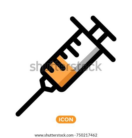 syringe vector icon. Healthcare symbol