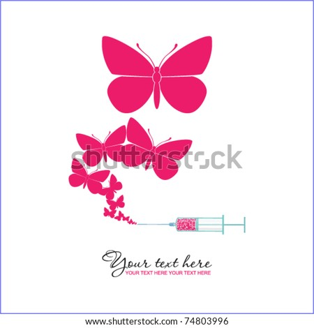 syringe with butterfly vector