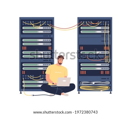 Sysadmin adjusting network connection, repairing equipment, maintaining system work in server room. Man working with hardware. Colored flat graphic vector illustration isolated on white background Сток-фото ©