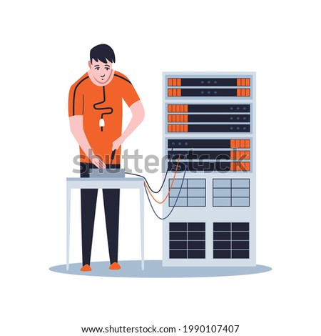 Sysadmin maintaining or repairing server. Maintaining work, repairing and adjusting network connection. Technical engineer work on system maintenance Сток-фото ©