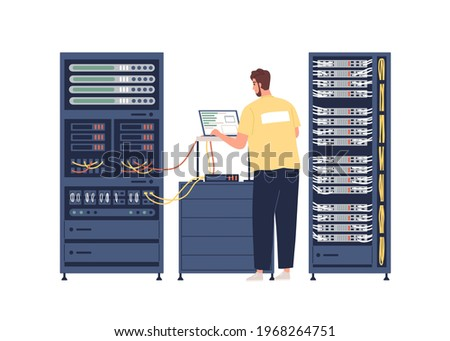 Sysadmin repairing and adjusting network connection. System administrator working with server rack cabinets and computer. Colored flat graphic vector illustration isolated on white background Сток-фото ©