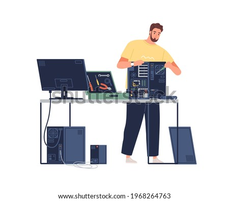 Sysadmin repairing computer. Technician mending PC hardware. Repairman working with system unit and tools. Colored flat vector illustration of technical specialist isolated on white background Сток-фото ©