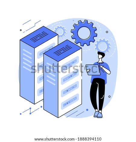 System administration abstract concept vector illustration. Network upkeeping, computer systems and servers configuration, install or upgrade computer components and software abstract metaphor. Сток-фото ©