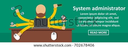 System administrator banner horizontal concept. Flat illustration of system administrator banner horizontal vector concept for web