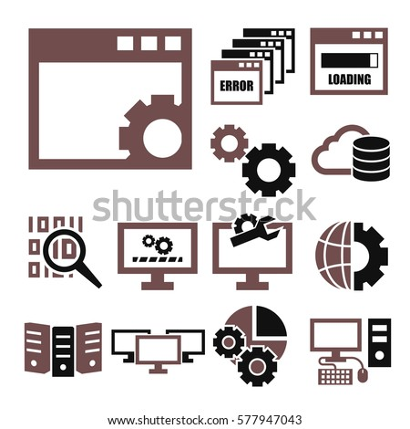 system administrator, computer network icon set