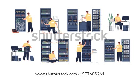 System administrator flat vector illustrations set. Computer repair, upkeeping server, adjusting network. Sysadmin cartoon character isolated on white background. Data center maintenance service.
