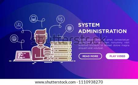 System administrator near server and laptop with code. Thin line icons: cloud database, security, storage, data science. Modern vector illustration, web page template on gradient background.