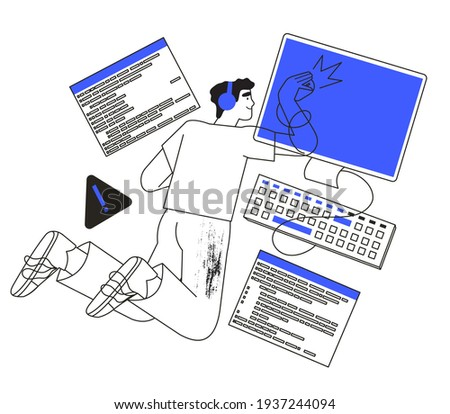 System administrator or engineer working on computer or repairing pc. Programmer searching for malware or bug in software or program. Trendy illustration in simple outline style for ui or web design.