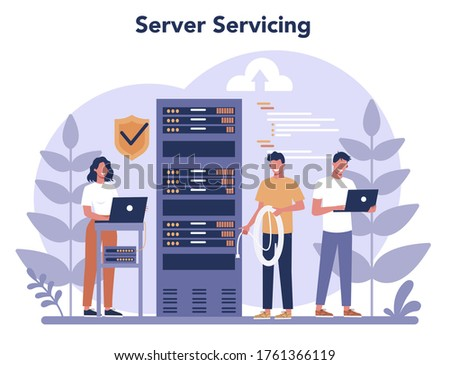 System administrator. People working on computer and doing technical work with server. Configuration of computer systems and networks. Isolated flat vector illustration Сток-фото ©