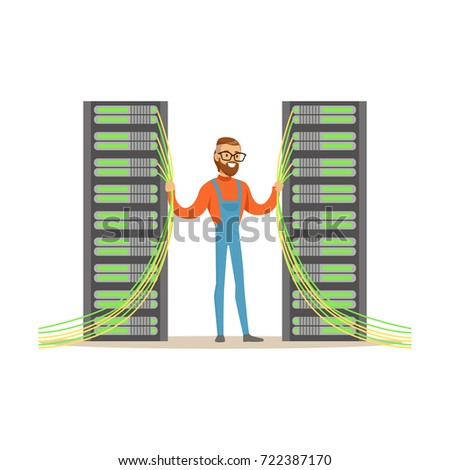 System administrator, server admin, programmer working with hardware equipment of data center, technologies server maintenance support descriptions vector illustration