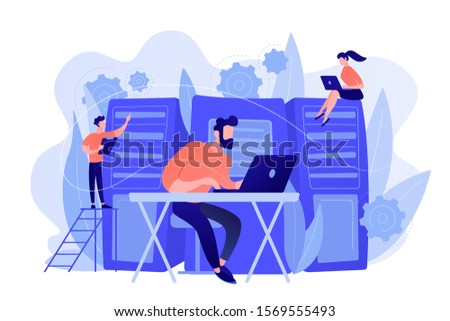 System administrators or sysadmins are servicing server racks. System administration, upkeeping, configuration of computer systems and networks concept. Pinkish coral blue palette. Vector illustration Сток-фото ©