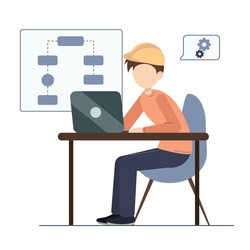 System architect working on laptop. Web development concept. Isolated on white background. Vector flat illustration.