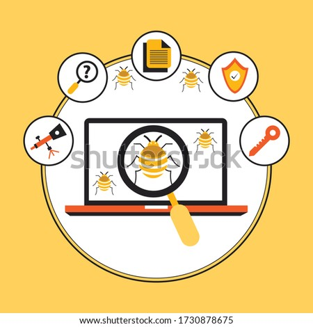 System bug concept. Code bug concept. Vector bug in the system. Bug searching. Vector illustration