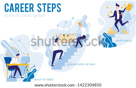 System Career Steps. Levels Career Growth. Career Steps. Levels Career Growth. Search for Ideas. Implementation Tasks. Profit-Making. From Poverty to Wealth. Achive Goal. Vector Illustration.