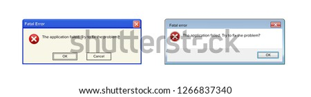 System Easy Transfer fatal error warning information message template. Modern window computer information user interface sign, crash Report Background. Vector Illustration