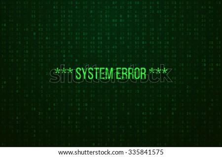 system error digital numbers
