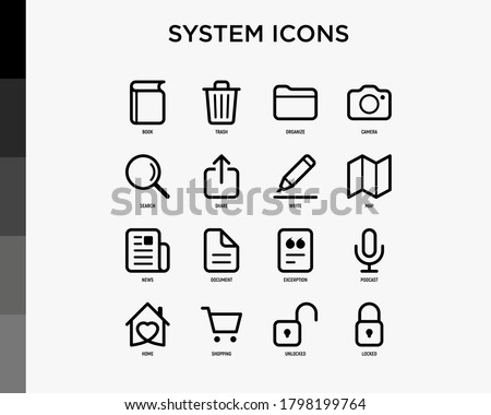 System icons set: book, trash, camera, file, search, share, map, news, shopping, add document, locked, unlocked. Minimal thin line icons. Vector illustration.