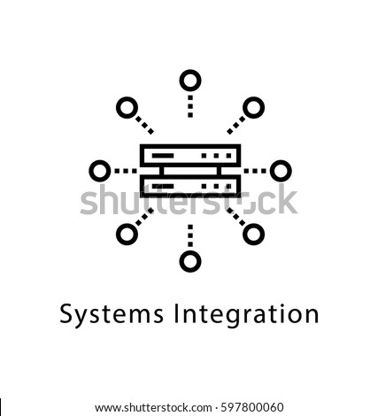 System Integration Vector Line Icon